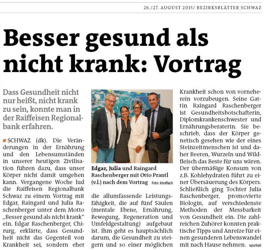 """Zeitungsbericht zu: """"Besser gesund, als nicht krank"""" – ENOH"""